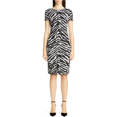 St. John Collection Sculpted Zebra Jacquard Sweater Dress, White
