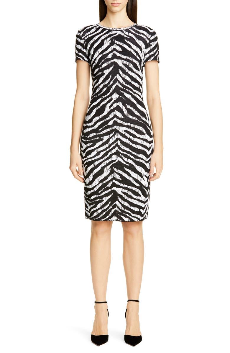 ST. JOHN COLLECTION Sculpted Zebra Jacquard Sweater Dress, Main, color, WHITE/ CAVIAR MULTI
