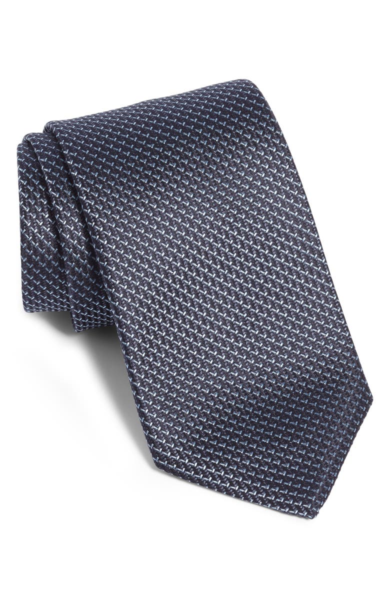 BOSS Geometric Silk Tie, Main, color, NAVY