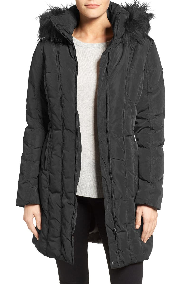 CALVIN KLEIN Down & Feather Fill Coat with Faux Fur Trim Hood, Main, color, 001