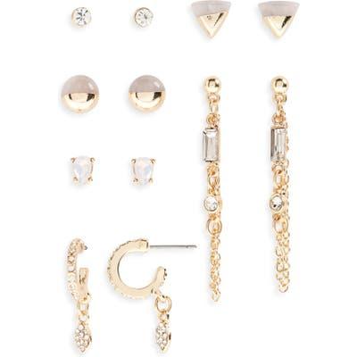 Bp. Set Of 6 Stone & Pave Crystal Earrings