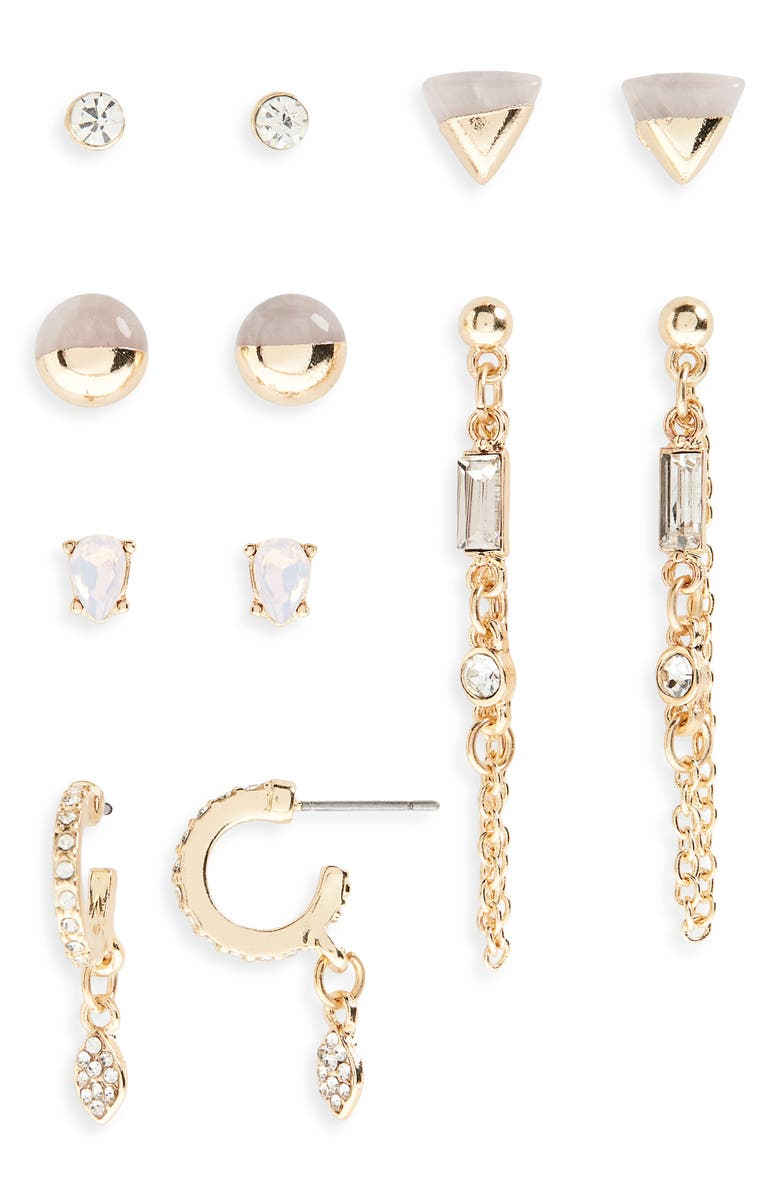 BP. Set of 6 Stone & Pavé Crystal Earrings, Main, color, CLEAR- PINK- GOLD