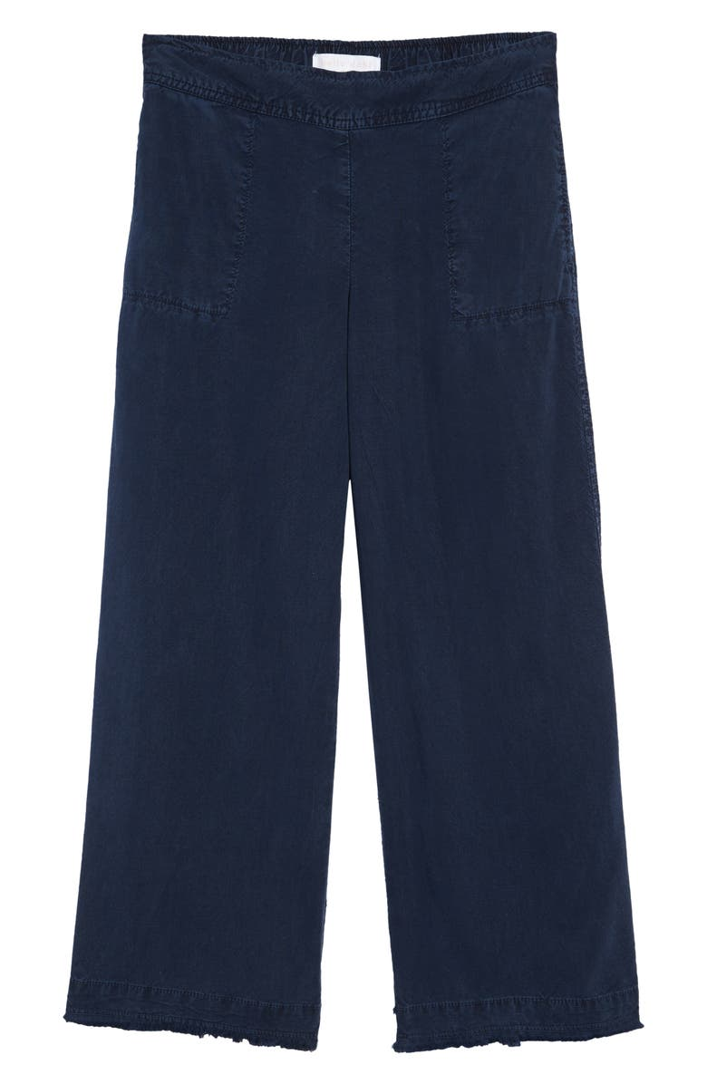 BELLA DAHL Wide Leg Frayed Crop Pants, Main, color, NAVY