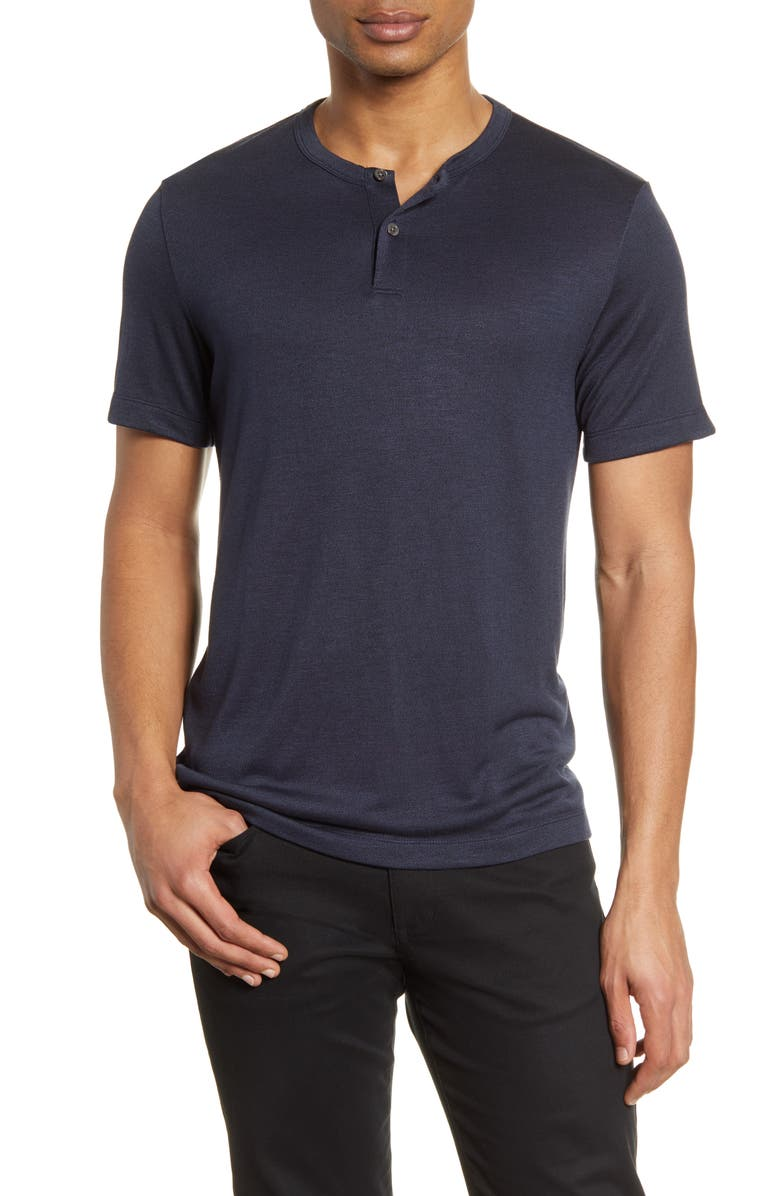 THEORY Gaskell Slim Fit Short Sleeve Henley, Main, color, ECLIPSE