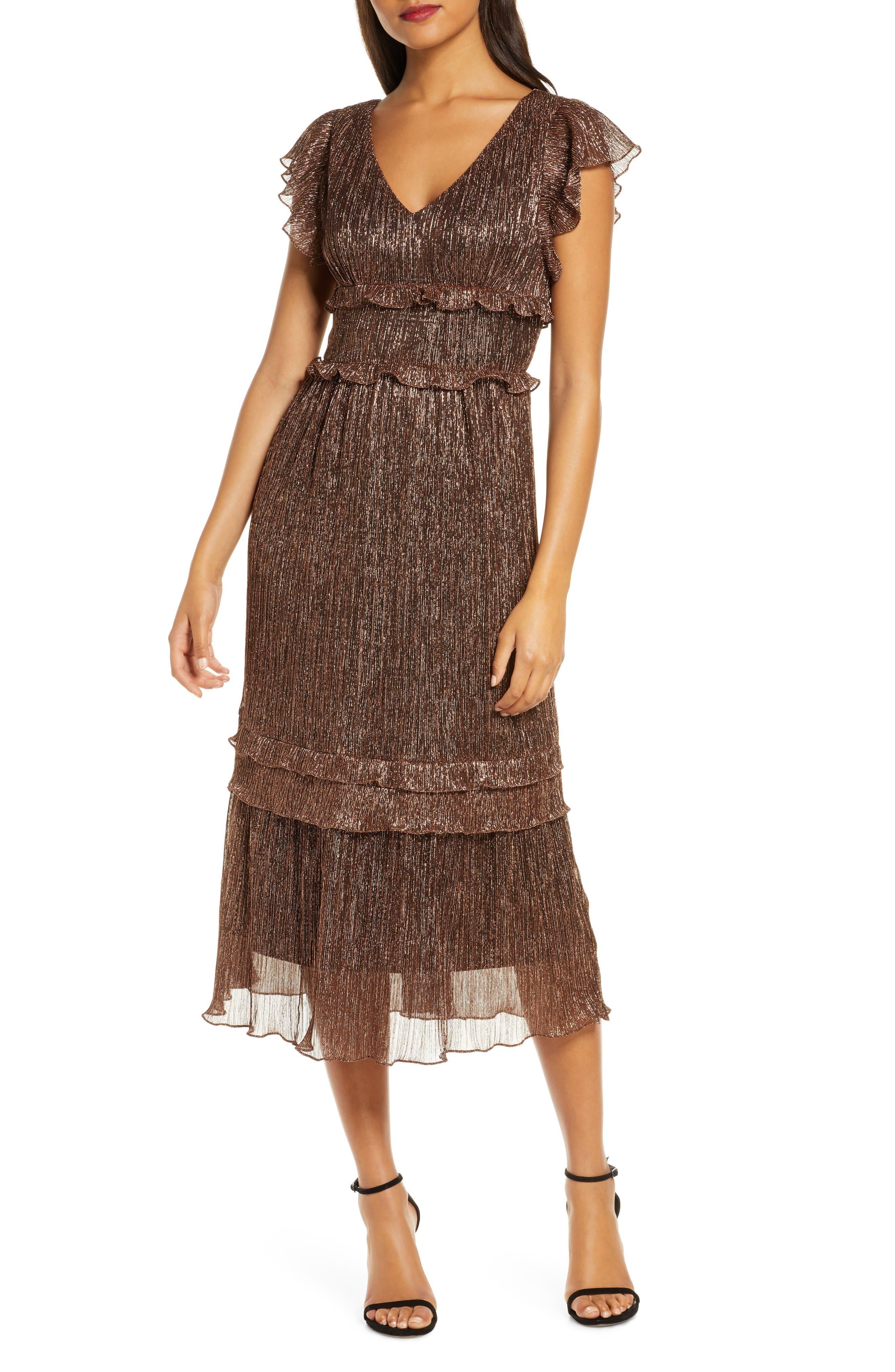 Vintage 1920s Dresses – Where to Buy Womens Julia Jordan Metallic Ruffle Trim Midi Dress $77.40 AT vintagedancer.com