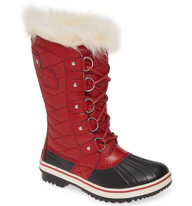 SOREL 'Tofino II' Faux Fur Lined Waterproof Boot, Main, color, RED DAHLIA CANVAS