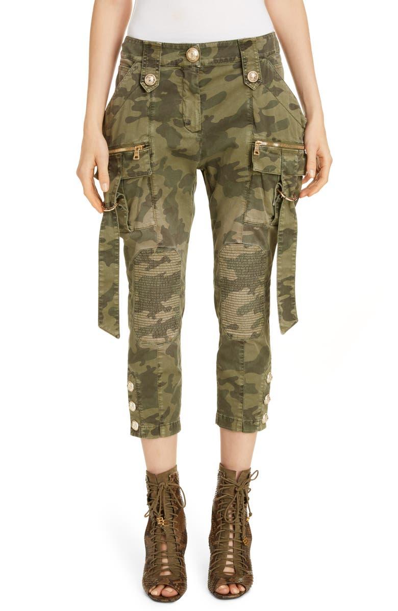 BALMAIN Camouflage Crop Cargo Jeans, Main, color, KAKI