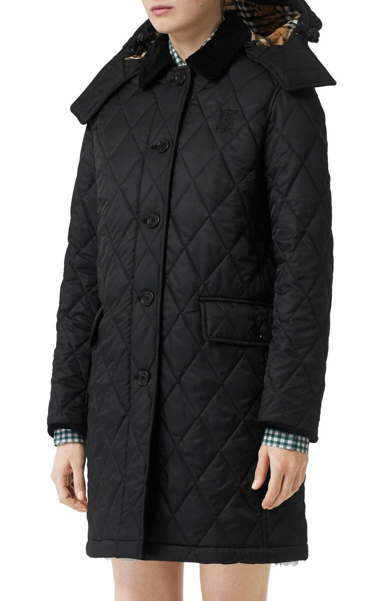 BURBERRY Dereham Monogram Logo Quilted Coat, Main, color, BLACK