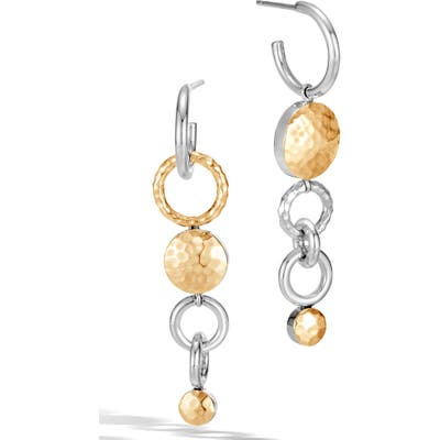 John Hardy Dot Hammered Mismatched Interlink Drop Earrings