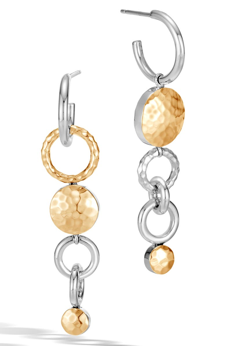 JOHN HARDY Dot Hammered Mismatched Interlink Drop Earrings, Main, color, SILVER/ GOLD