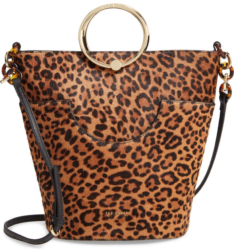 TED BAKER LONDON Aliena Snake Embossed Leather Bucket Bag, Main, color, 001