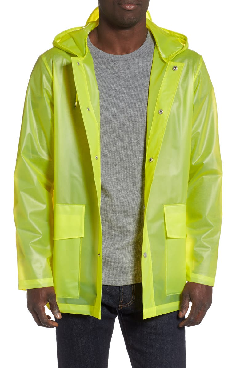 RAINS Hooded Rain Jacket, Main, color, FOGGY NEON YELLOW