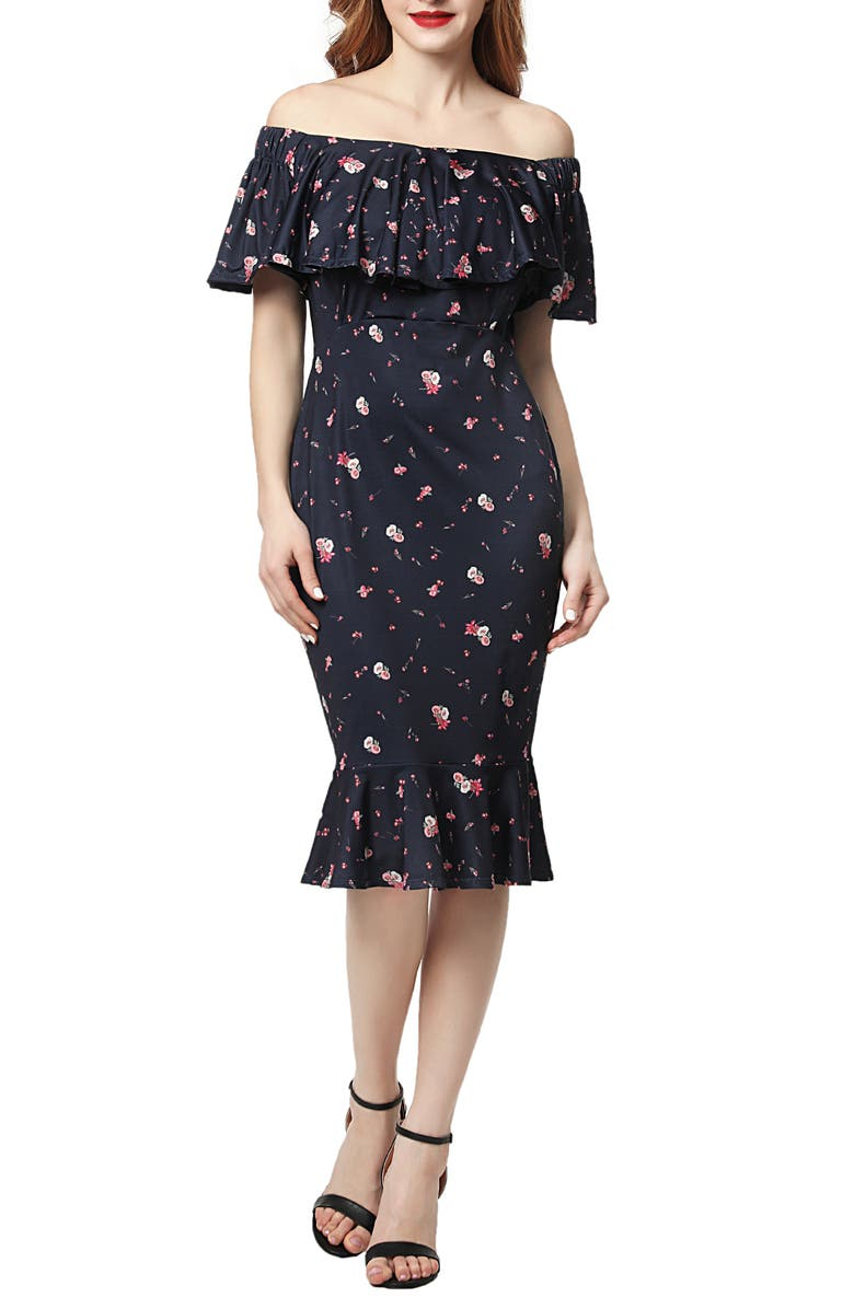 KIMI AND KAI Flora Off the Shoulder Maternity Dress, Main, color, 400