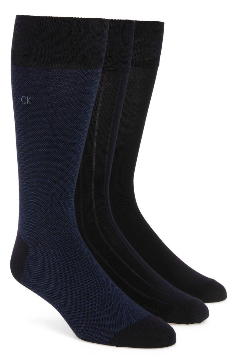 CALVIN KLEIN 3-Pack Crew Socks, Main, color, GREY MULTI