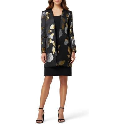 Tahari Tank Dress With Brocade Jacket, Black