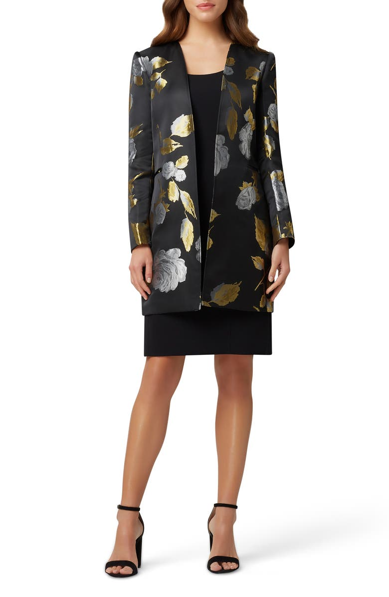 TAHARI Tank Dress with Brocade Jacket, Main, color, BLACK GOLD ROSES