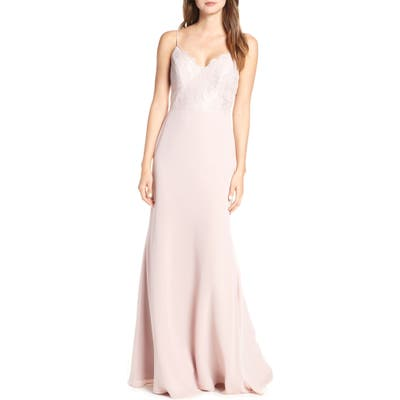 Hayley Paige Occasions Sleeveless Rose Lace & Chiffon Evening Dress, Pink