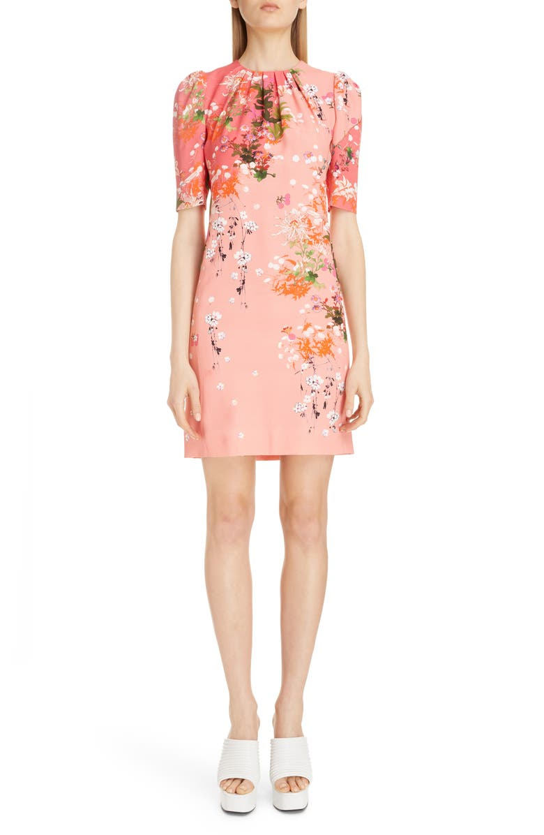 GIVENCHY Gathered Neck Floral Print Crepe Dress, Main, color, 651