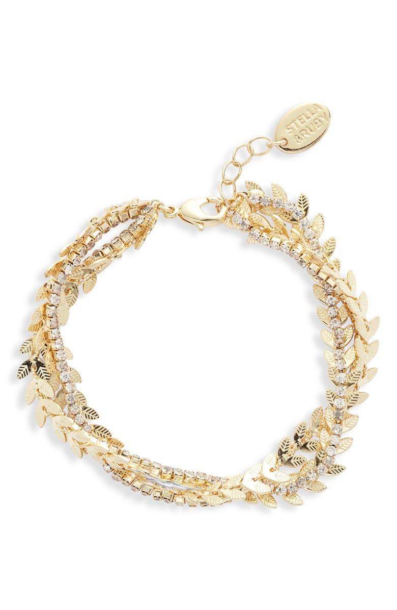 STELLA + RUBY Crystal Wreath Bracelet, Main, color, GOLD/ CRYSTAL
