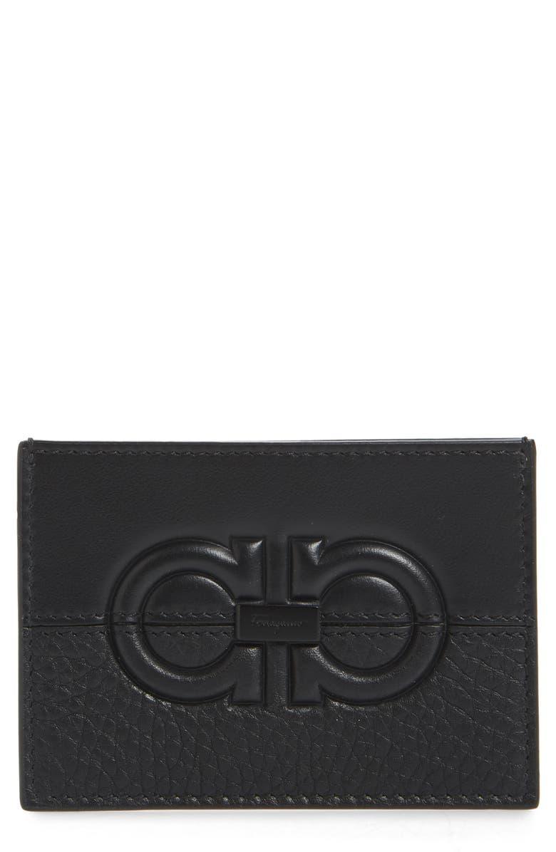 SALVATORE FERRAGAMO Firenze Debossed Leather Card Holder, Main, color, BLACK / BLACK