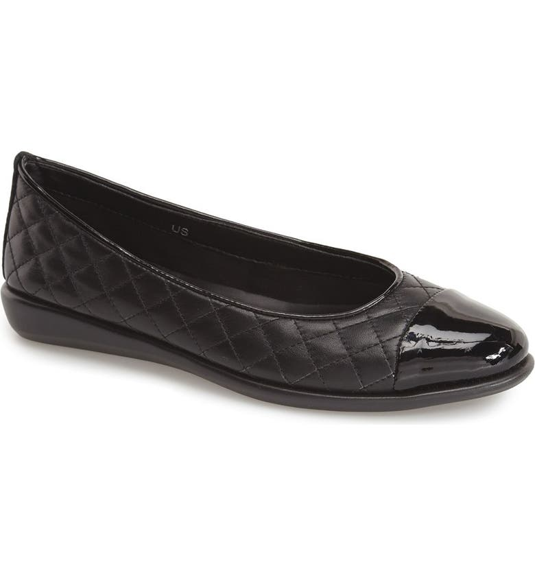 THE FLEXX 'Rise a Smile' Quilted Leather Flat, Main, color, BLACK/ CORDA