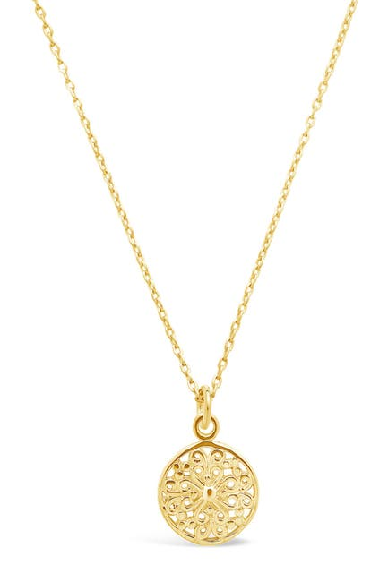 Image of Sterling Forever 14K Gold Vermeil Plated Sterling Silver Intricate Cutout Disk Pendant