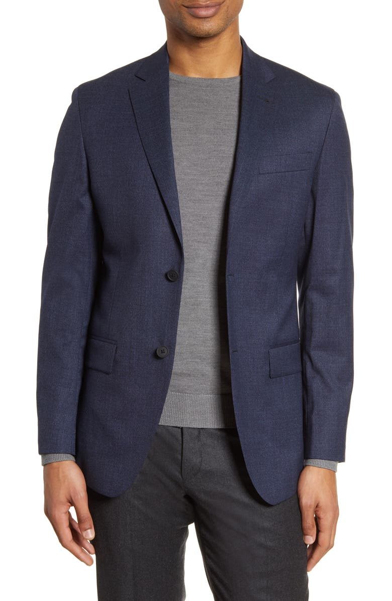 NORDSTROM MEN'S SHOP Trim Fit Stretch Wool Blazer, Main, color, BLUE NAVY TEXTURE