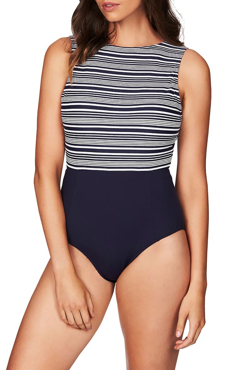 SEA LEVEL '50s Retron One-Piece Swimsuit, Main, color, NAVY/ WHITE