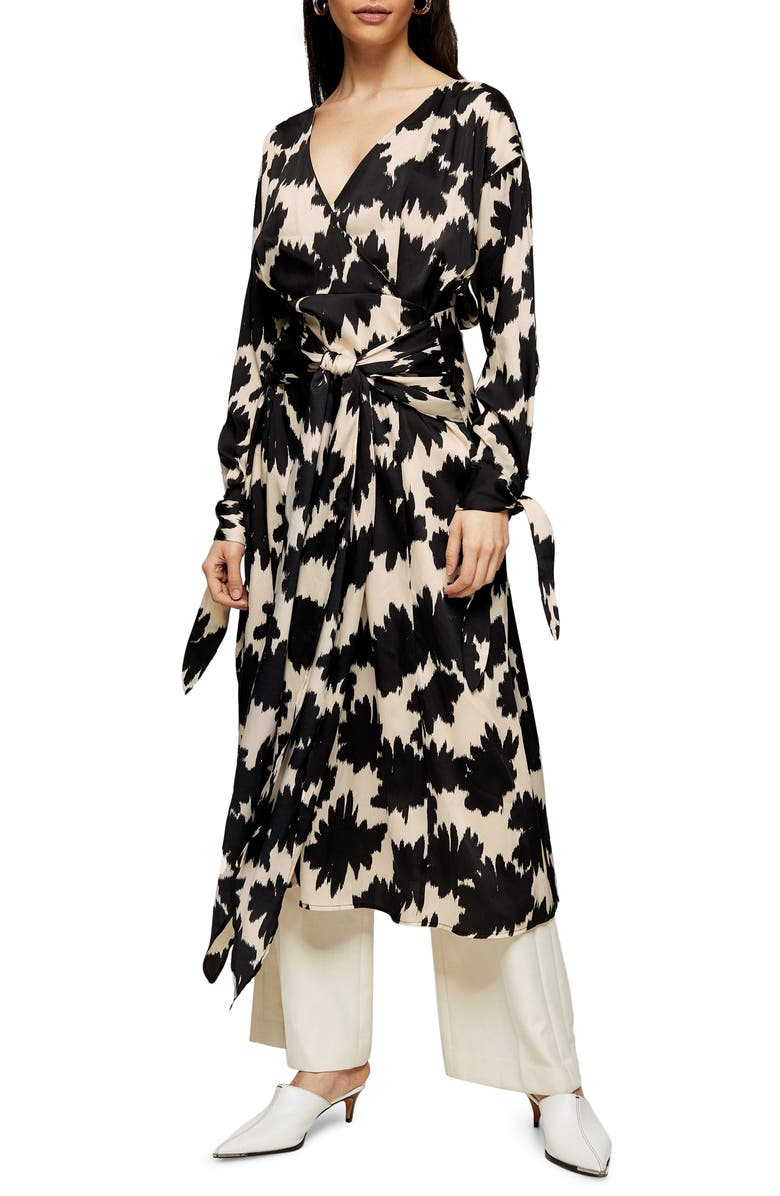 TOPSHOP BOUTIQUE Floral Print Wrap Dress, Main, color, BLACK MULTI