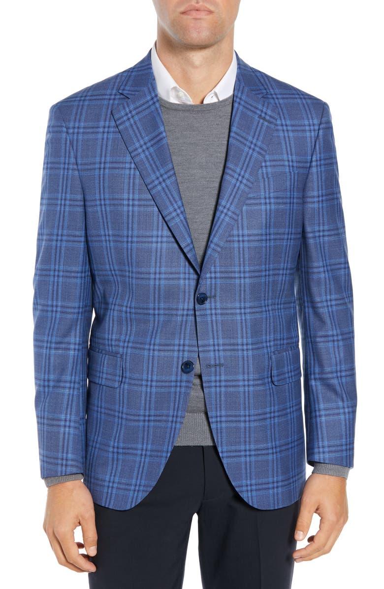PETER MILLAR Flynn Classic Fit Plaid Wool Sport Coat, Main, color, 400