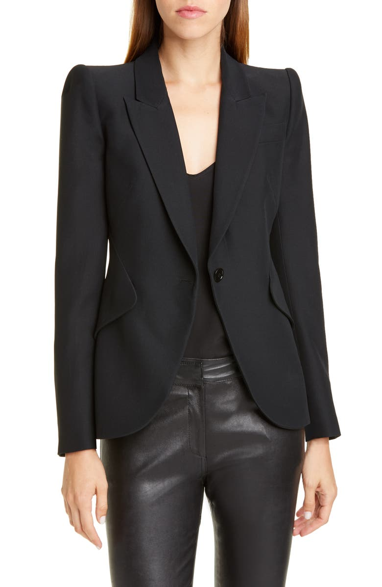 ALEXANDER MCQUEEN Leaf Crepe Jacket, Main, color, BLACK