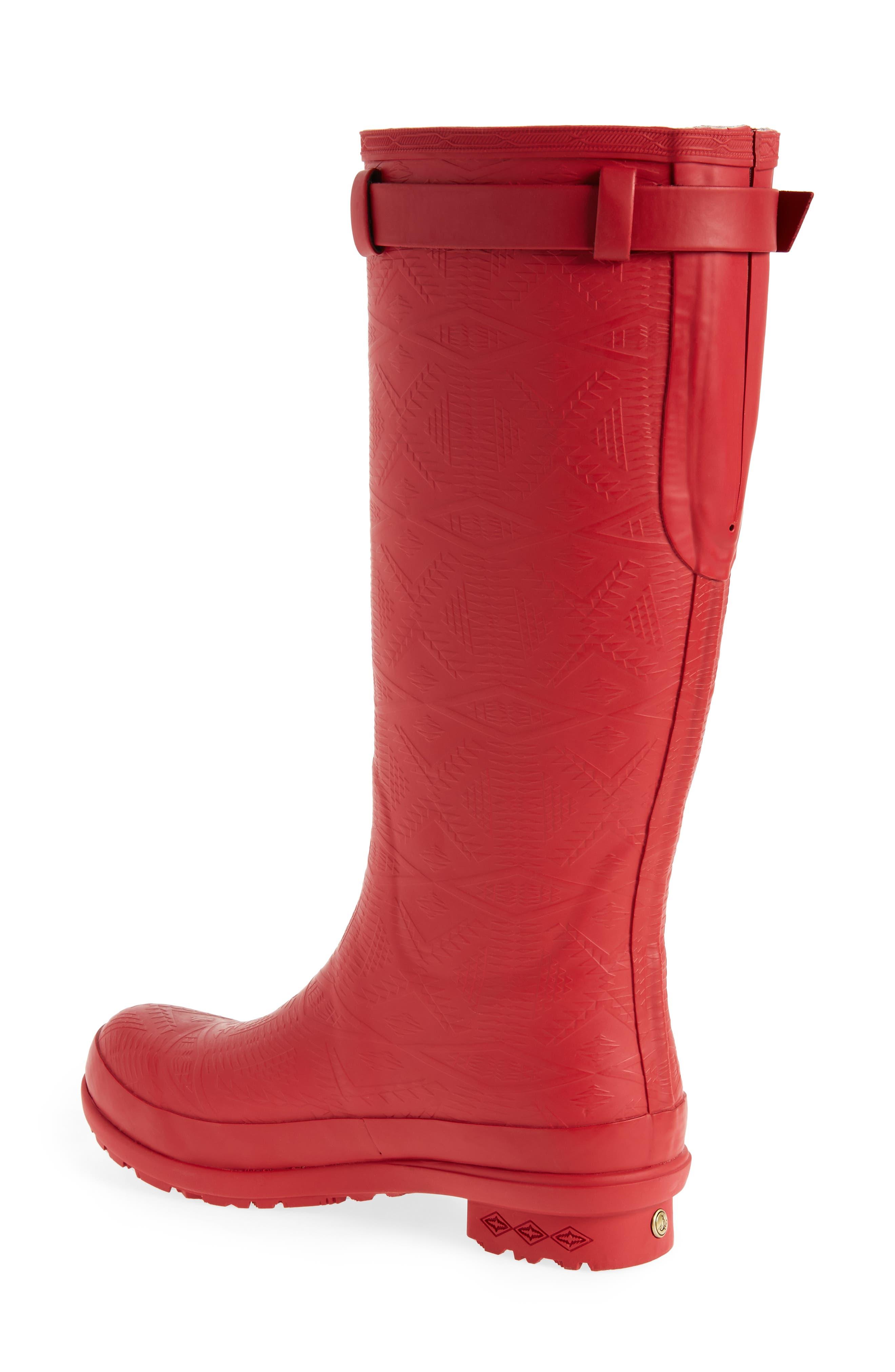 ,                             Embossed Tall Waterproof Rain Boot,                             Alternate thumbnail 2, color,                             SCARLET