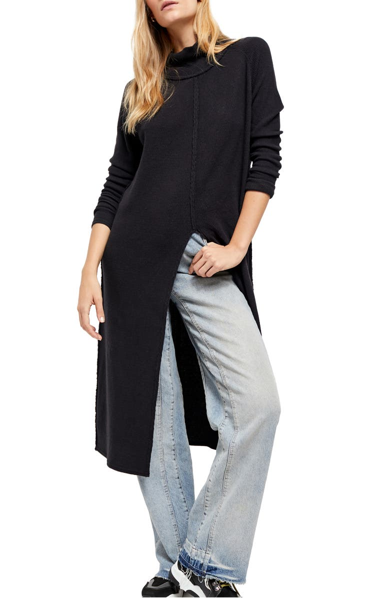 FREE PEOPLE Work it Tunic Sweater, Main, color, BLACK