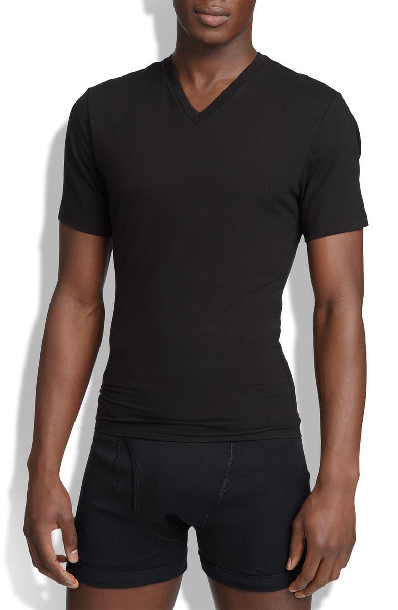 SPANX<SUP>®</SUP> V-Neck Cotton Compression T-Shirt, Main, color, 001