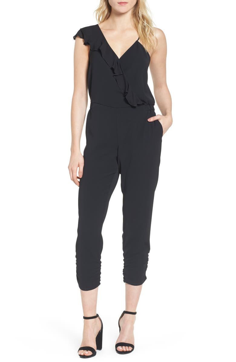 PARKER Addison Asymmetrical Jumpsuit, Main, color, BLACK