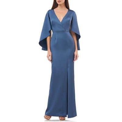 Js Collections Satin Crepe Trumpet Gown, Blue
