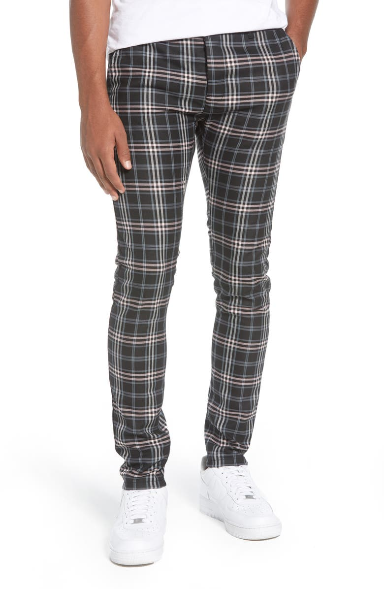TOPMAN Skinny Fit Plaid Stretch Twill Pants, Main, color, GREY