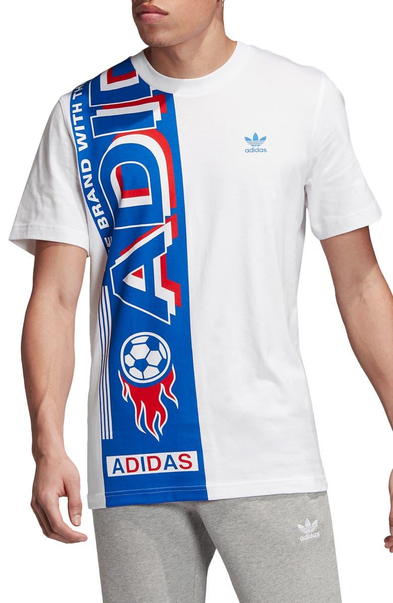 ADIDAS ORIGINALS Side Scarf Graphic T-Shirt, Main, color, WHITE/ BLUE