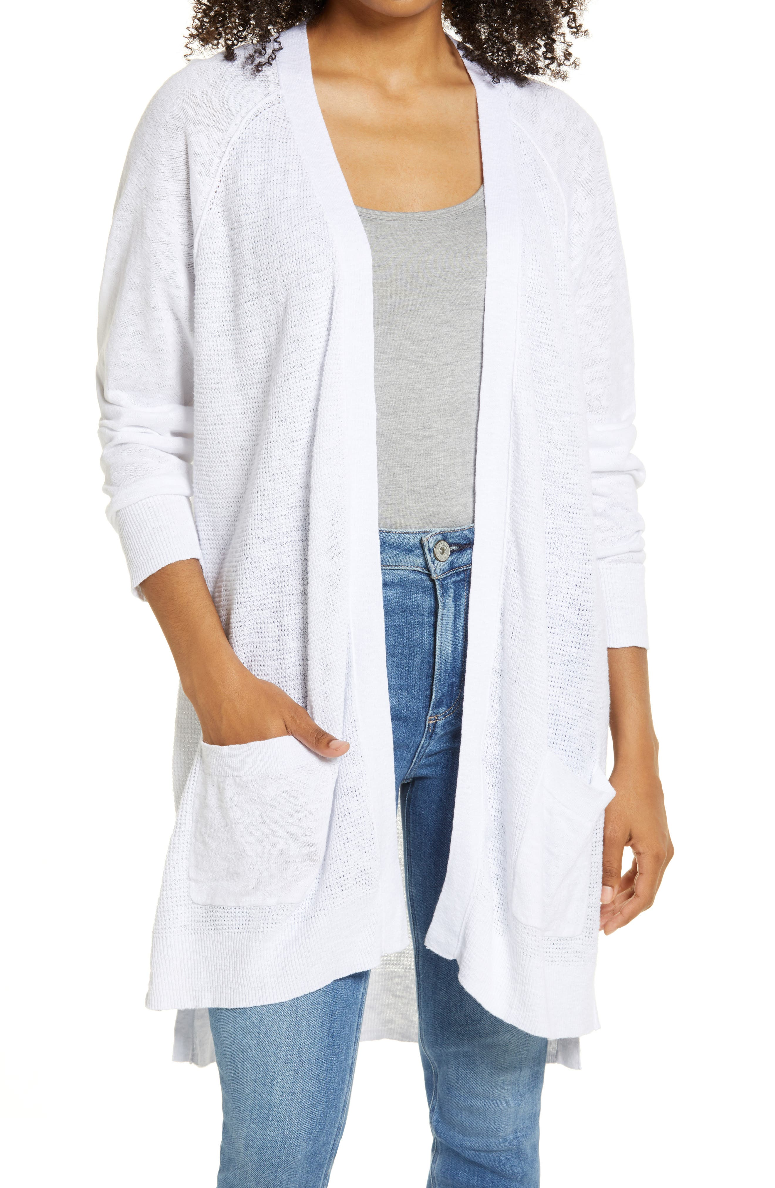 This slubbed longline cardigan made from an airy blend of linen and cotton is perfect for warm-weather layering. Style Name: Caslon Linen & Cotton Cardigan. Style Number: 6005944. Available in stores.
