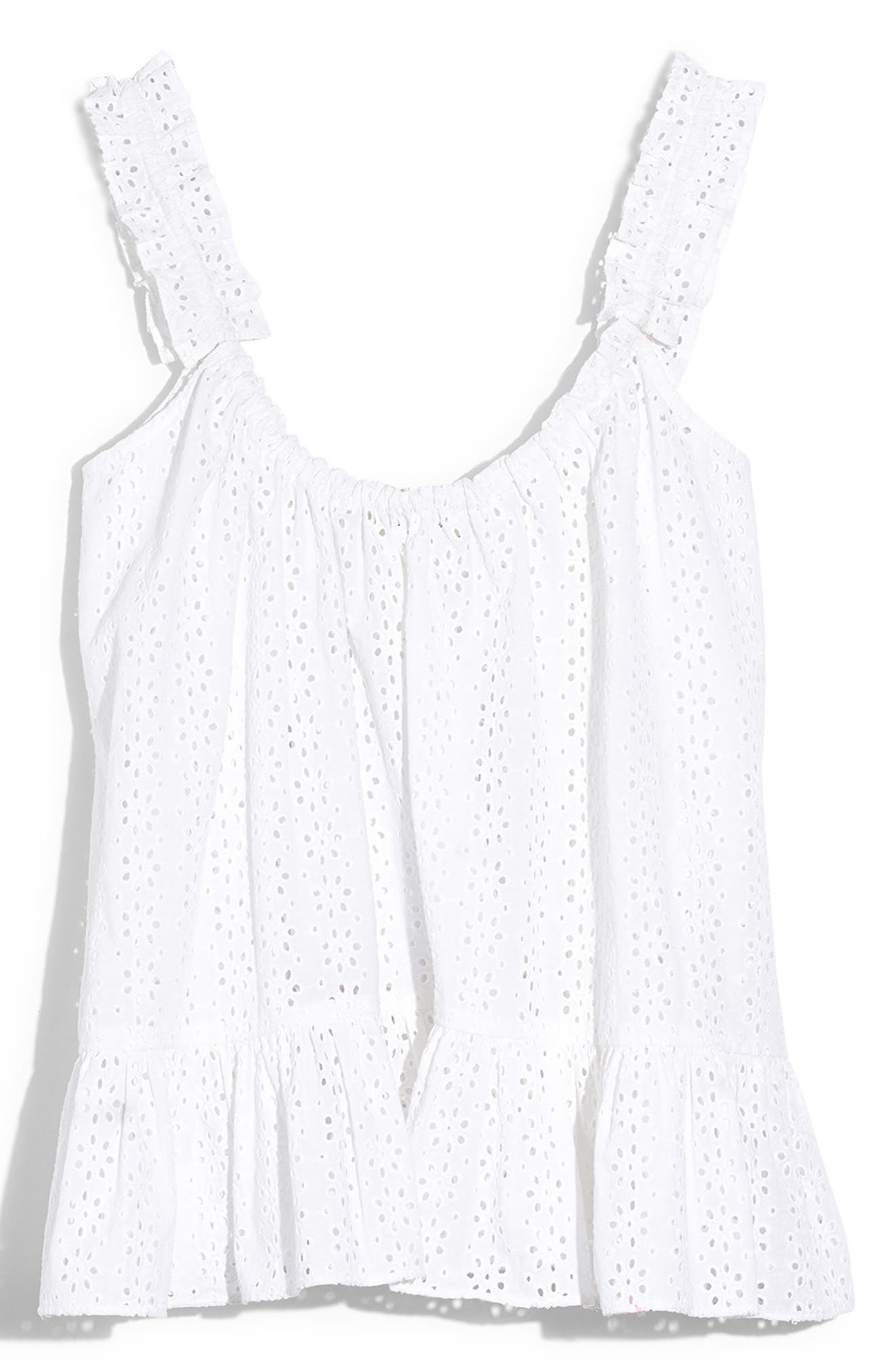 ,                             Eyelet Ruffle Strap Camisole,                             Alternate thumbnail 4, color,                             EYELET WHITE