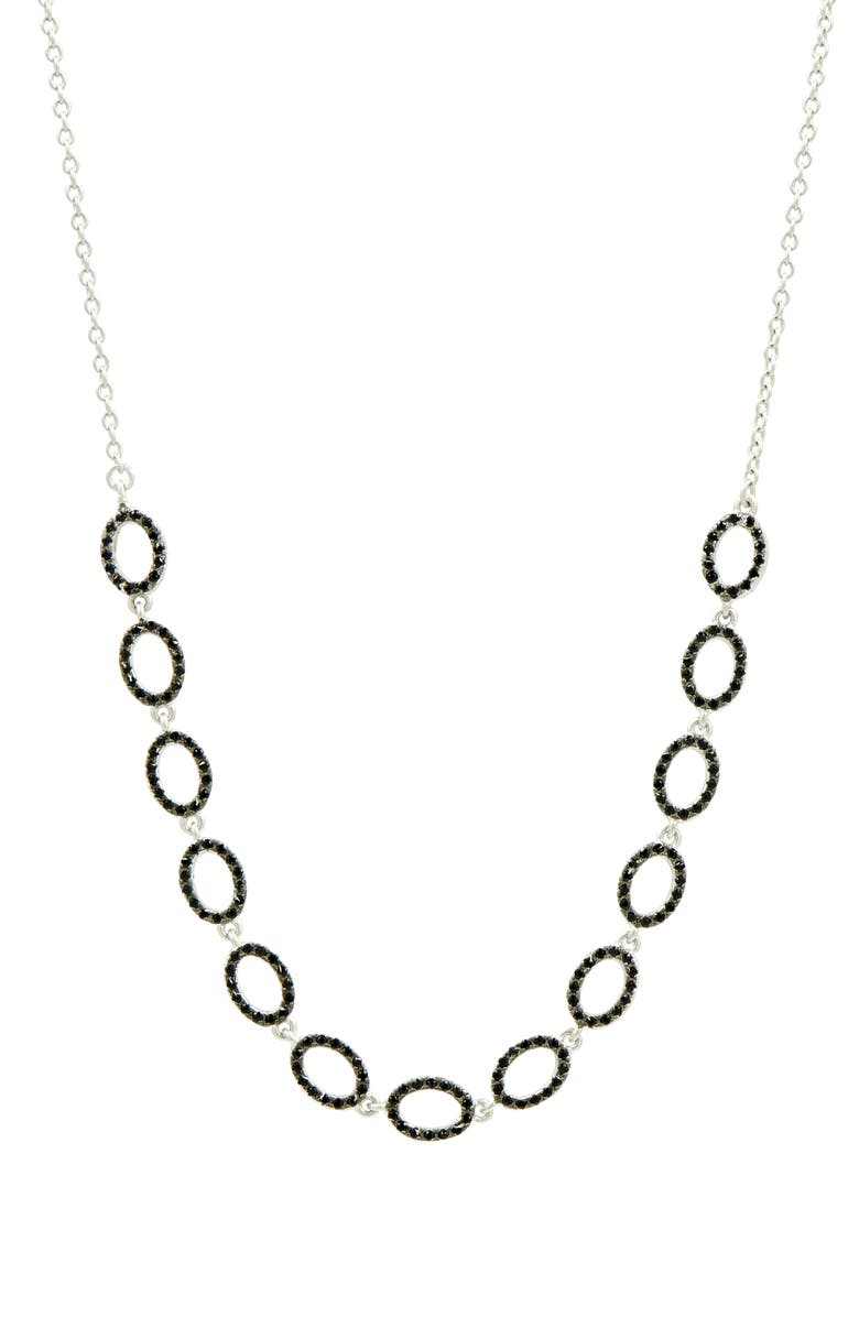 FREIDA ROTHMAN Industrial Finish Pavé Frontal Necklace, Main, color, SILVER/ BLACK