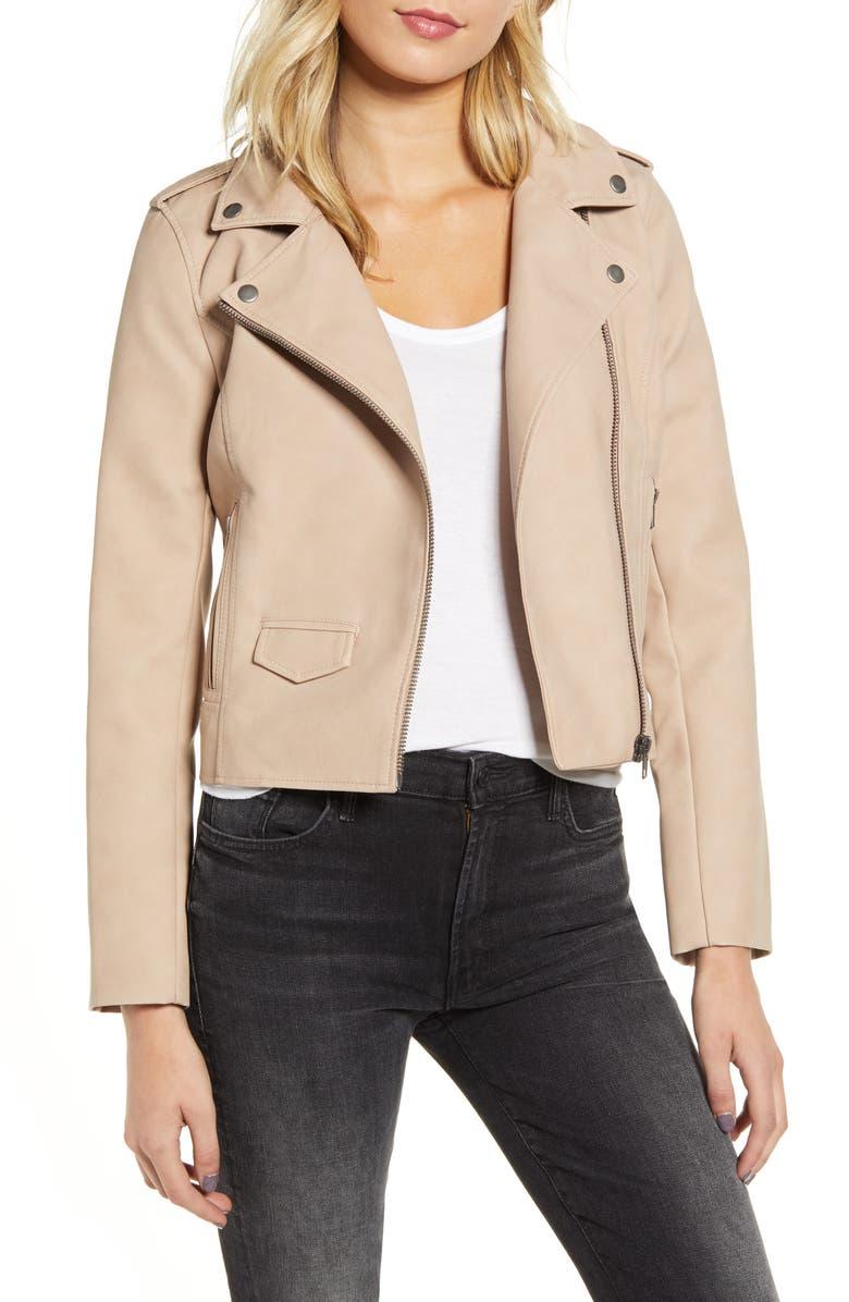 BB DAKOTA Ain't It Cool Faux Leather Jacket, Main, color, PARCHMENT