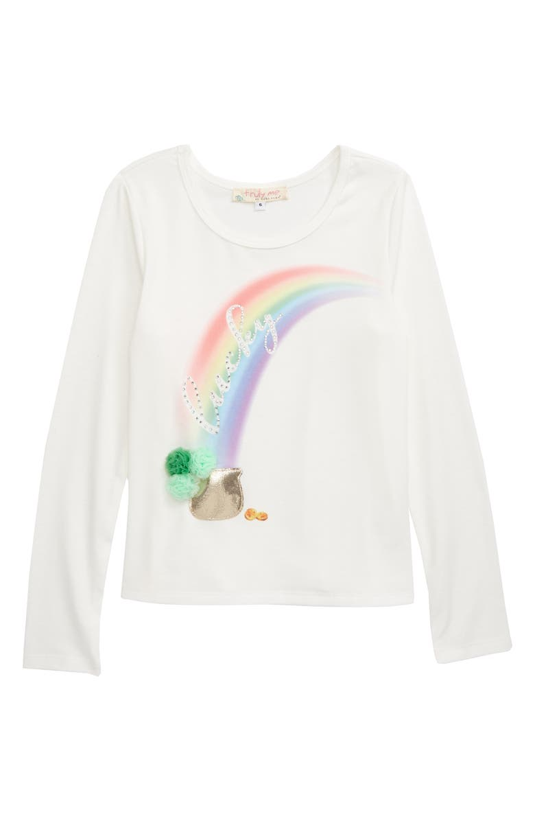 TRULY ME Lucky Rainbow Long Sleeve Graphic Tee, Main, color, OFF WHITE MULTI