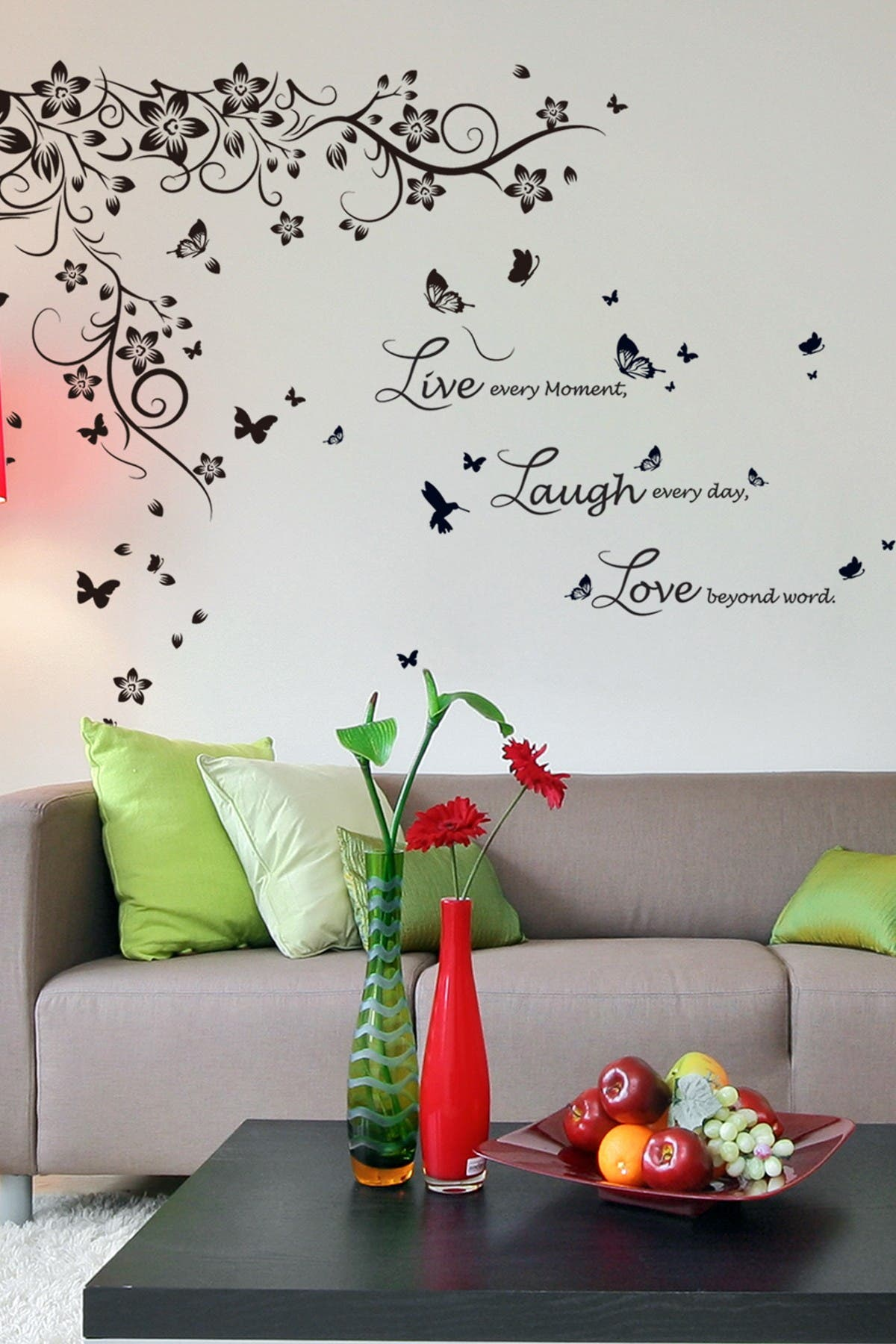 Image of WalPlus Butterfly Vine & Live Laugh Love Decal