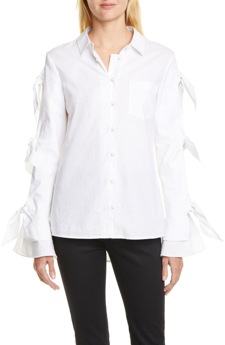 JONATHAN SIMKHAI Tie Sleeve Oxford Shirt, Main, color, WHITE