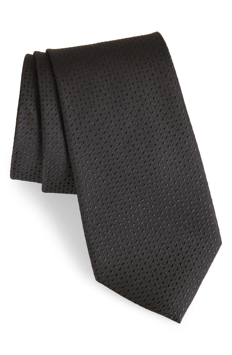 CALIBRATE Ballard Solid Silk Tie, Main, color, BLACK