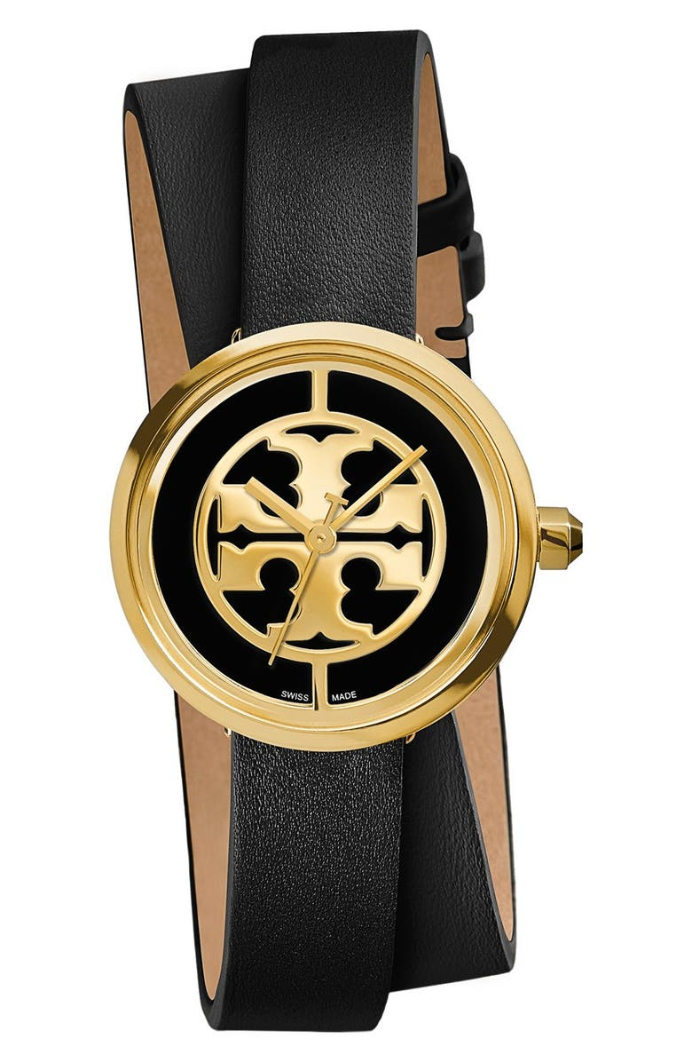 TORY BURCH 'Reva' Logo Dial Double Wrap Leather Strap Watch, 28mm, Main, color, 001