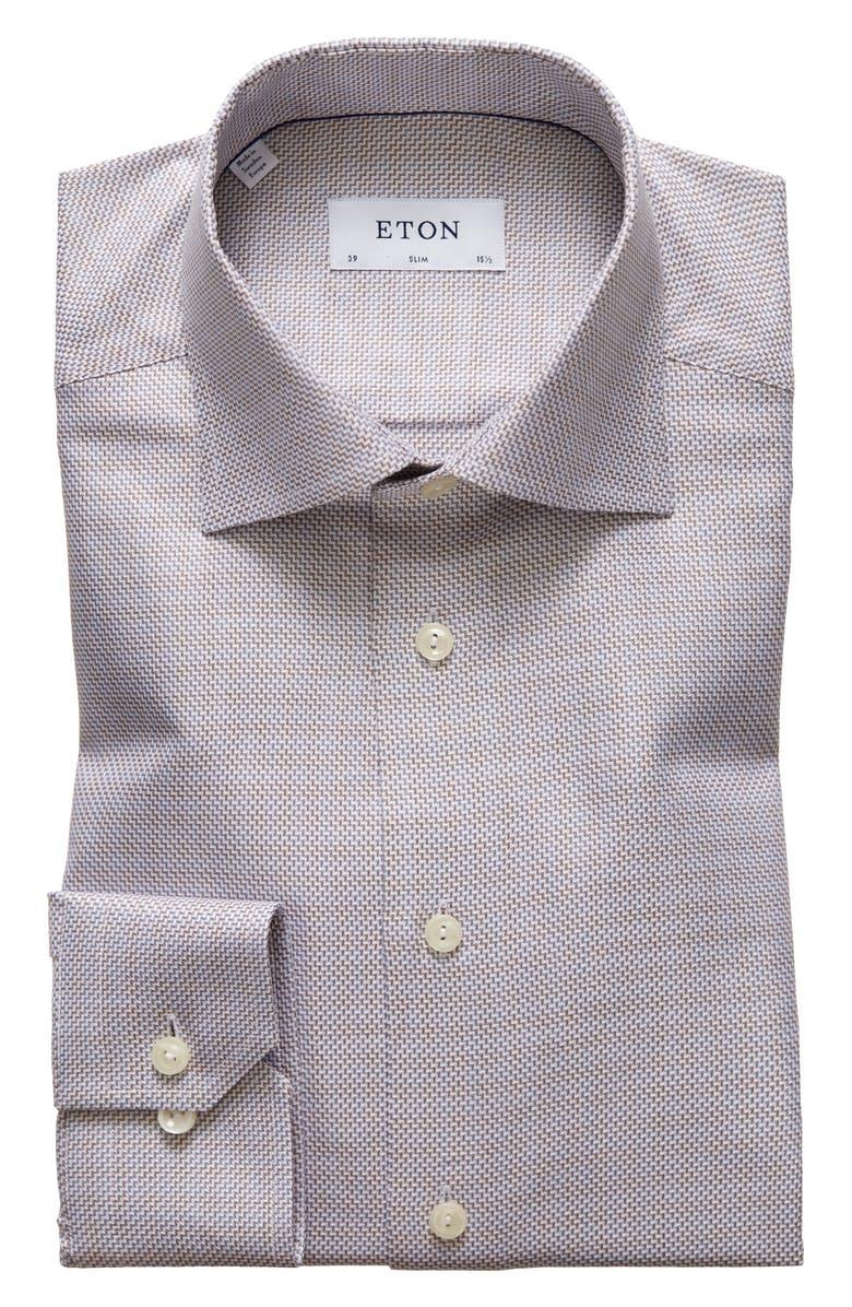 ETON Slim Fit Herringbone Dress Shirt, Main, color, OFF WHITE/ BROWN