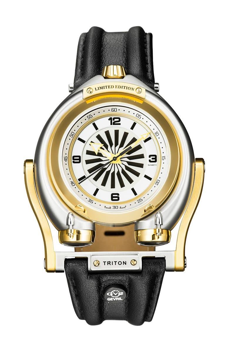 GEVRIL Men's Triton Leather Strap Watch, 49mm, Main, color, BLACK