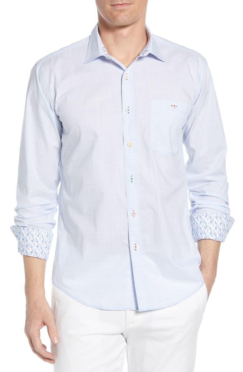 BUGATCHI Shaped Fit Stripe Cotton Shirt, Main, color, 459